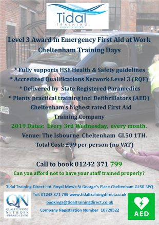 Monthly open course in L3 Emergency First Aid at Work at The Isbourne Cheltenham