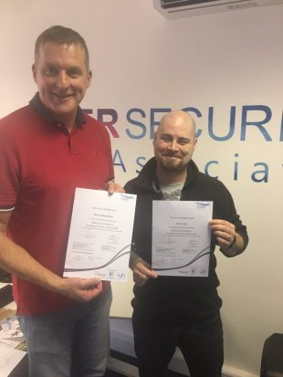 Dave & Dan @ Cyber Security Associates proudly receiving their qualification certificates